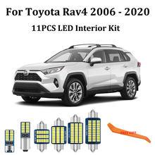Kit de luces interiores para automóvil, luz led Canbus blanca para Toyota Rav4, RAV-4, mapa de puerta, maletero, 2006-2017, 2018, 2019, 2020, 11 Uds.