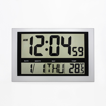 JIMEI H810 Simple Digital Wall Clock Jumble LCD display large number Alarm Temperature Calender for household/office use image