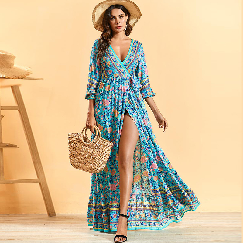 Siskakia Bohemian Long Dress Deep V Neck Lace Up Slim Waist Maxi Dress Sexy Split Beach Holiday Clothing Spring Summer 2020 New