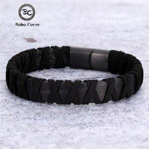 2020 New Fashion braided Genuine Leather Bracelets Men Handmade Black Rope Titanium Steel Bracelets Wristband Male Jewelry Gifts