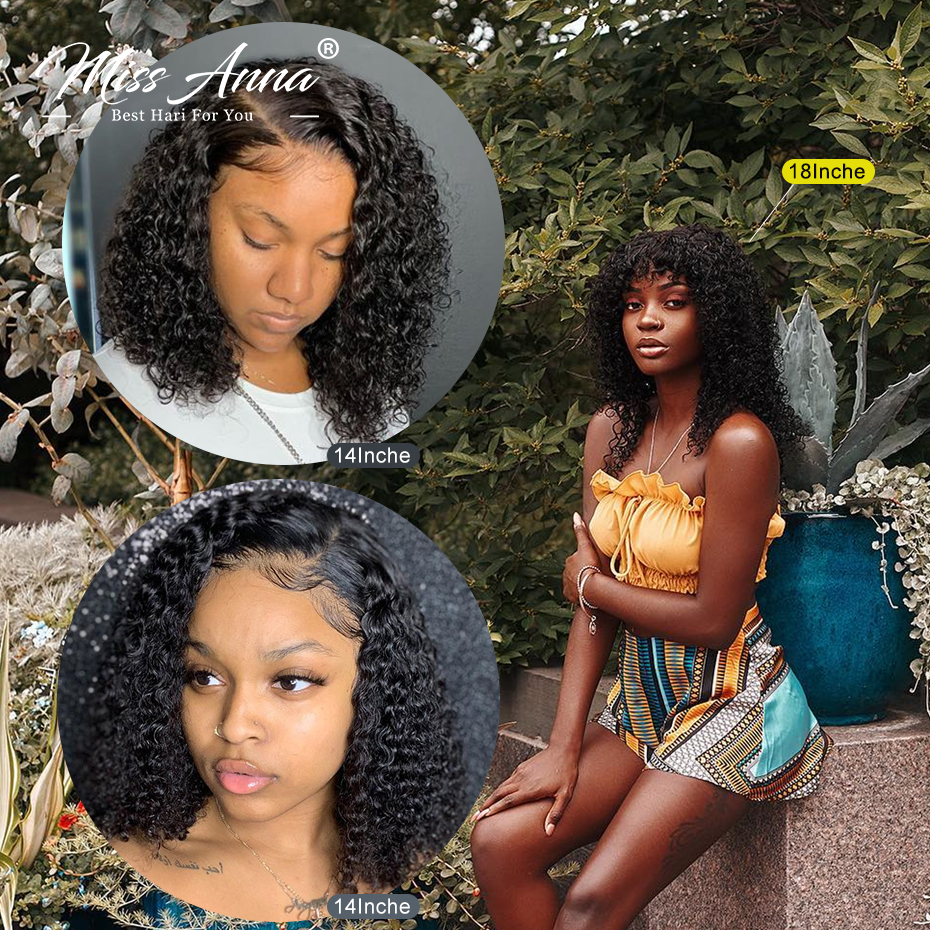 Missanna Jerry Curly Lace Front Human Hair Wigs With Baby Hair Brazilian Remy Hair Short Curly Bob Wig For Women Pre-Plucked Wig