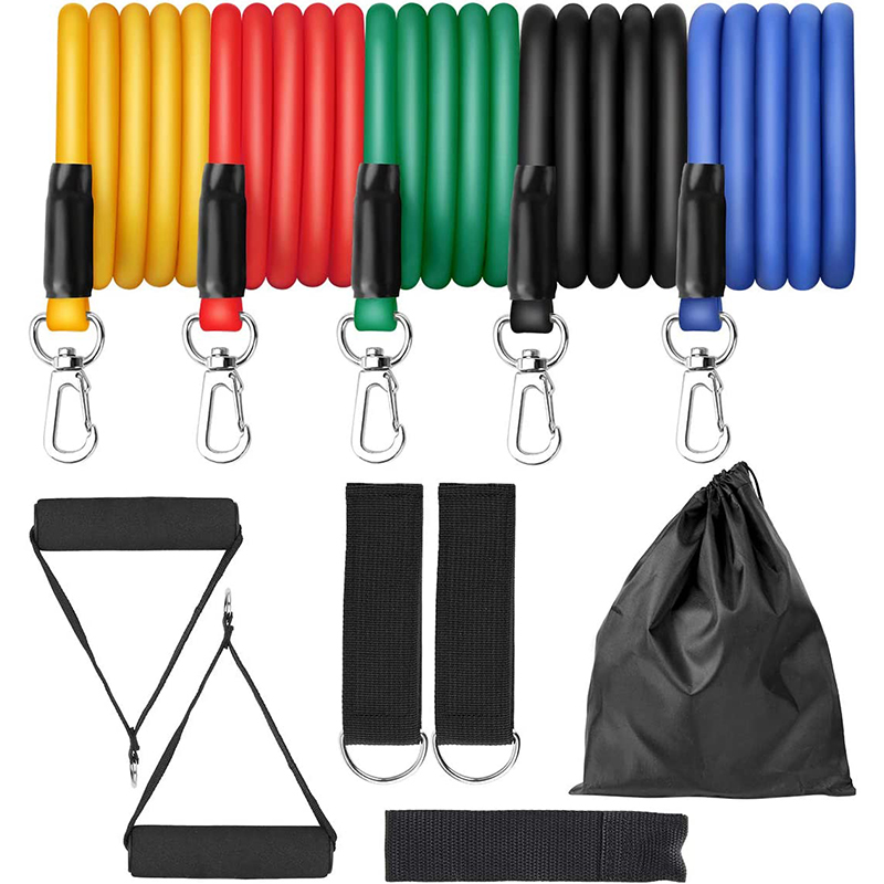 11pcs Exercise Resistance Bands Set Expander Yaga Pull Rope Gym Training Fitness Band Home Workout With Door Anchor Ankle Strap image