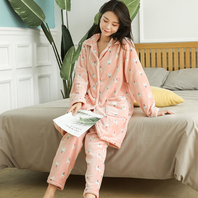 2019 Winter Warm Flannel Pajamas Women Cardigan Shirt+pants 2 Pieces Set Tracksuits Women Home Wear Suits Sleepwear Soft Warm