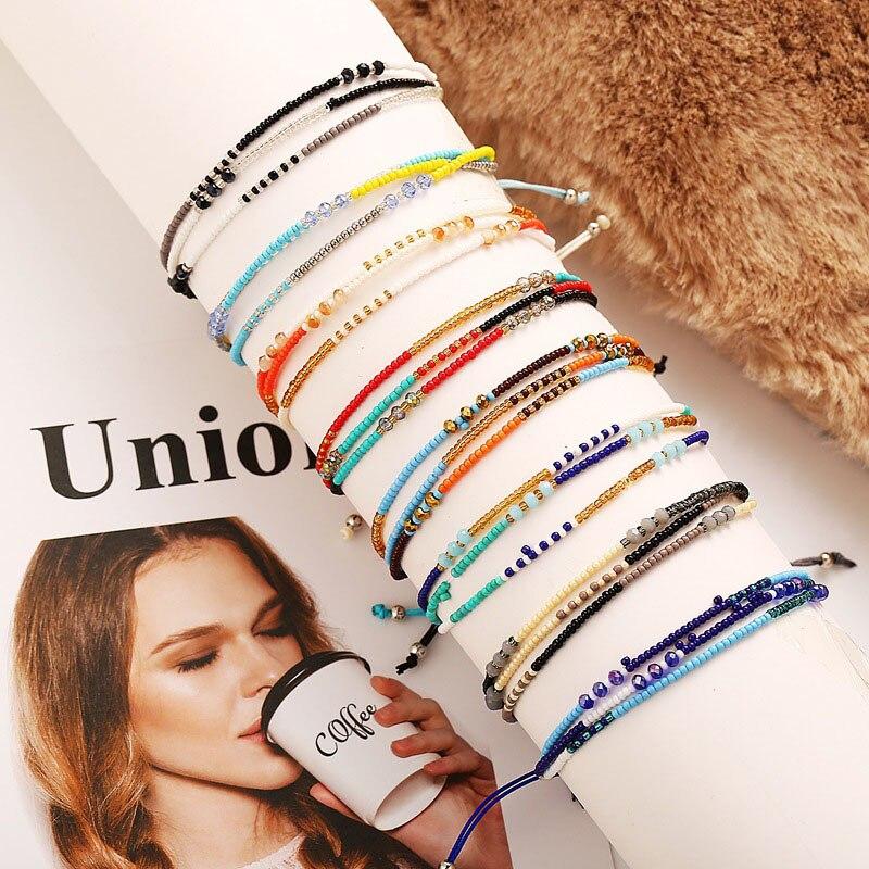 Modyle Bohemian Handwoven Multi-layer Colorful Weave Round Beaded Bracelet Retro Rice Adjustable Rope Ethnic Bangles Wholesale