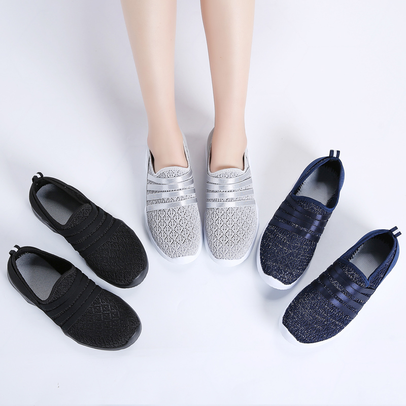 STQ Women Sneakers Flat Shoes 2020 Spring Breathable Mesh Slip-on Casual Sneakers Shoes Ladies Flat Walking Shoes For Women 7718