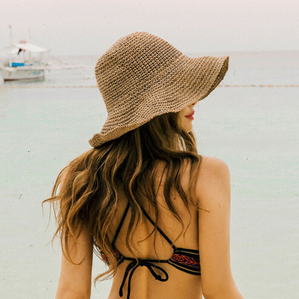 Boho Style 2019 Bow Sun Hat Wide Brim Floppy Summer Hats For Women Beach Panama Straw Dome Bucket Hat Femme Shade Hat