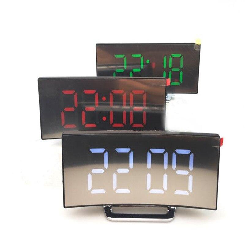 Digital Alarm Clock LED Mirror Alarm Clock Snooze Display Time Night Light LCD Table Desktop Reloj Despertador with USB Cable