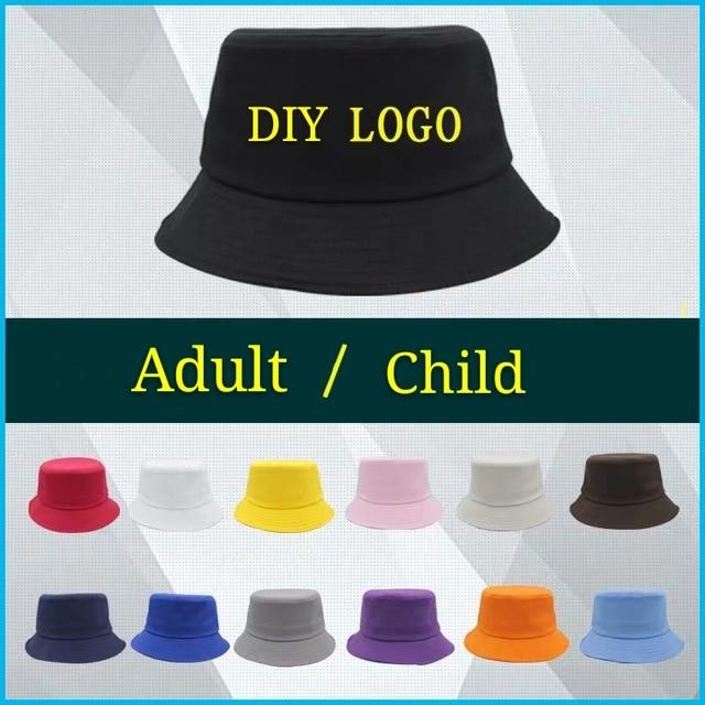 DIY Bucket Custom Hat Logo Printing Embroidery Adult Children High-quality Leisure Travel Fishing Summer Spring Cotton Hat 1
