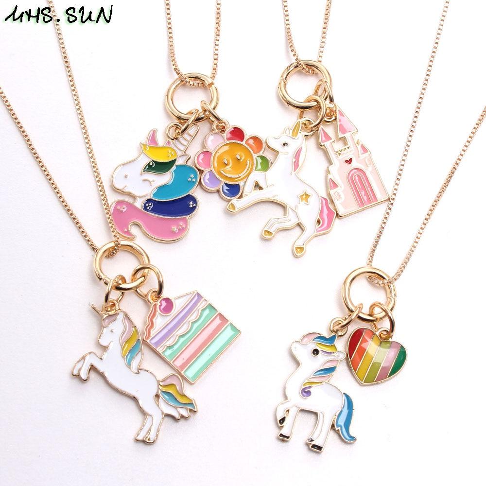 Mhs. sun bonito unicórnio/flor/castelo/coração pingentes colar crianças meninas encantos corrente colar para presentes de festa do bebê 1 pcs