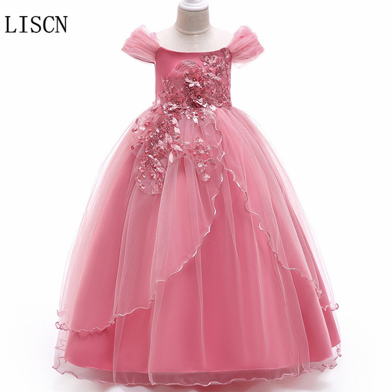 Cap Sleeve Pearls Ball Gown Birthday Colorful Tulle   Flower     Girl     Dresses   Lace Kids Pageant Formal Party Floor Length Fashion