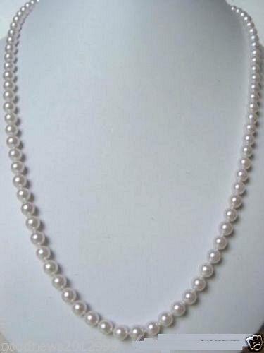 Collier de perles akoya blanc naturel 7-7.5mm AAA + 30