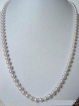 """natural 7-7.5mm AAA+ white akoya pearl necklace 30"""" 925silver yellow gold clasp"""