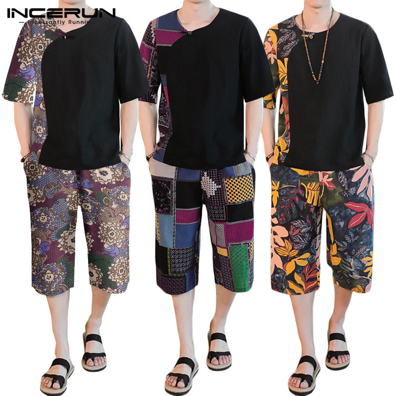 Printed Men Sets Round Neck Short Sleeve T Shirt Elastic Waist Casual Pants Retro Streetwear Ethnic Style Men Sets 2020 INCERUN