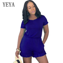 YEYA Elegant Bohemian Beach Jumpsuits New Arrival Round Neck Short Sleeve Wooden Ear Overalls Sexy Vintage Summer Playsuits