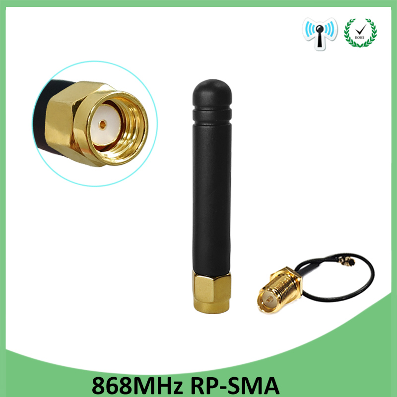<font><b>868MHz</b></font> <font><b>915MHz</b></font> <font><b>Antenna</b></font> 3dbi RP-SMA Connector GSM 915 MHz 868 MHz antena antenne +21cm SMA Male /u.FL Pigtail Cable image