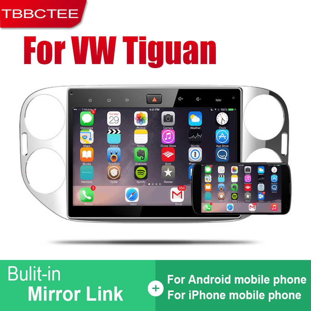 2 TBBCTEE Android Din Auto Rádio Para Volkswagen VW Tiguan 2010 ~ 2015 Reprodutor multimídia Carro de Navegação GPS Sistema de Rádio fone de ouvido estéreo