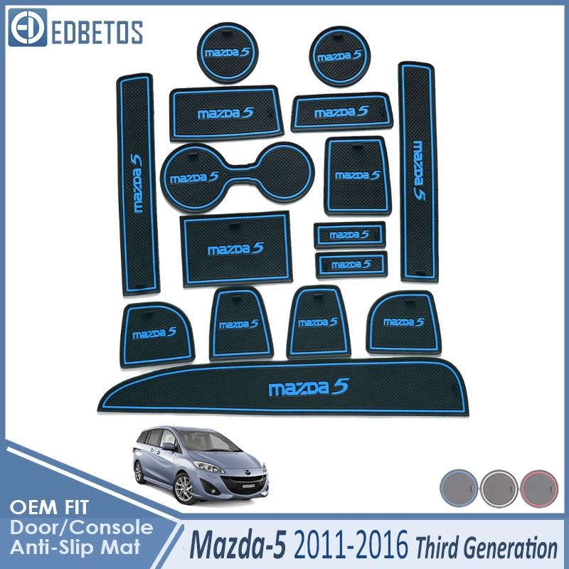 Anti-Slip Mat For Mazda 5 Premacy 2011 2012 2013 2014 2015 2016 MK3 Mazda5 Accessories Gate Slot Coaster Anti-Dirty Door Groove