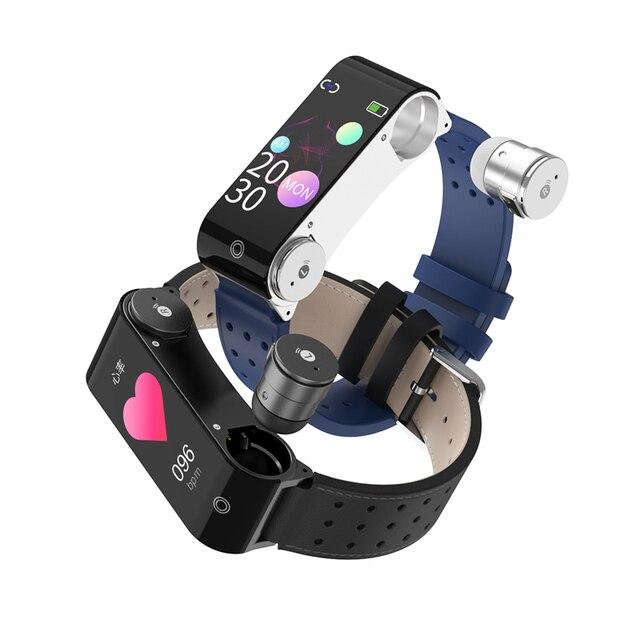 3 in1 Smart Watch Men Earbuds Temperature Sensor TWS Bluetooth 5.0 Earphones Smartwatch Sports Heart Rate Blood Pressure Monitor cb5feb1b7314637725a2e7: Black Strap|Blue Strap