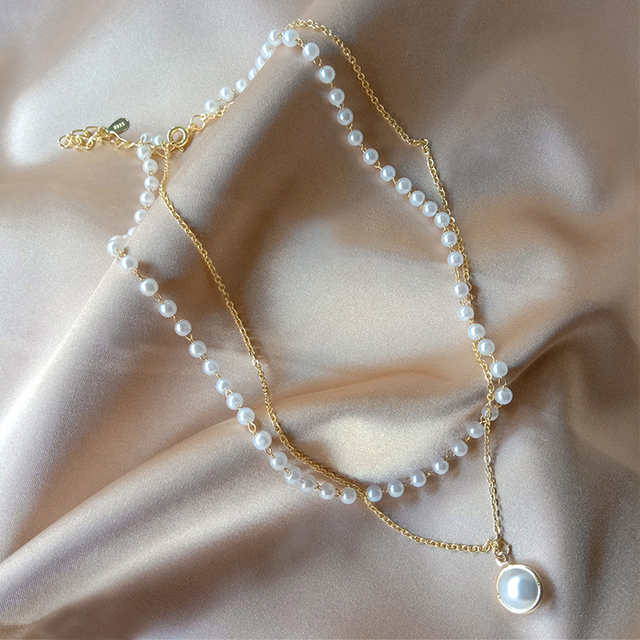 double layer chain and pearl necklace 4