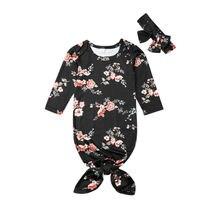 Осенние ночные рубашки с длинным рукавом для новорожденных мальчиков и девочек, одежда для сна, детский спальный мешок+ повязка на голову