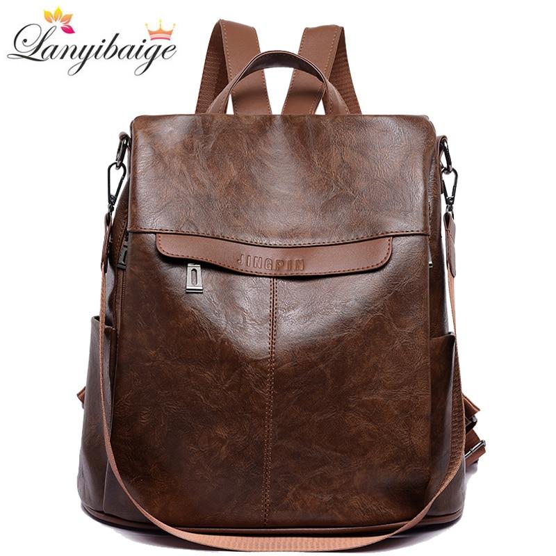 Luxury Backpack Women Pu Leather Backpack High Capacity Travel Backpack Fashion School Bags Shoulder Bags Mochila Feminina