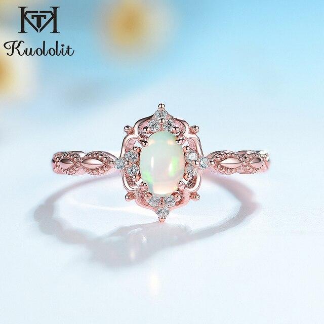 Kuololit Doğal Opal Taş Yüzük Kadınlar için 925 Ayar Gümüş Yüzük Düğün El Yapımı Nişan Bant Parçası Hediye Güzel Takı
