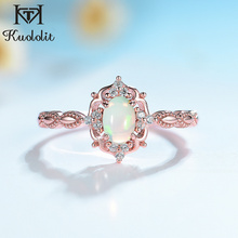 Kuololit Natural Opal Gemstone Rings for Women 925 Sterling Silver Ring Wedding Handmade Engagement Band Part Gift Fine Jewelry