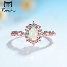 Kuololit naturalny opal pierścienie z kamieniami szlachetnymi dla kobiet 925 Sterling srebrny pierścień ślubne ręcznie robione pierścionek zaręczynowy części prezent biżuterii