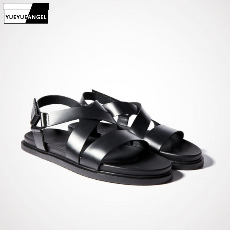 2020 Fashion Casual Men Buckle Sandals Genuine Leather Flat Platform Sandals Gladiator Rome Outdoor Beach Style Sandals Shoes