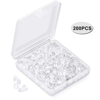 200Pcs DIY Parts Ear Plugging Replacement DIY Soft Clear Silicone Earring Safety Backs Clutch Stopper image