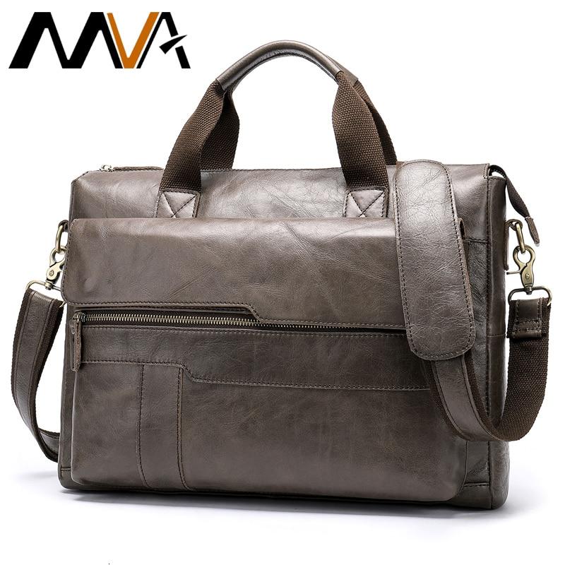 Mva Genuine Leather Briefcase Men's Leather Bag Men Laptop Bags For Business Men's Bags Office Bags For Men Vintage Tote 8615