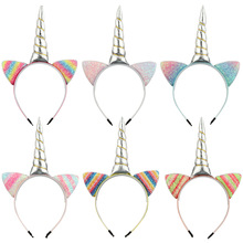 Children Unicorn Bezel Kids Party Headband Girls Vintage Hair Bands holiday Hair