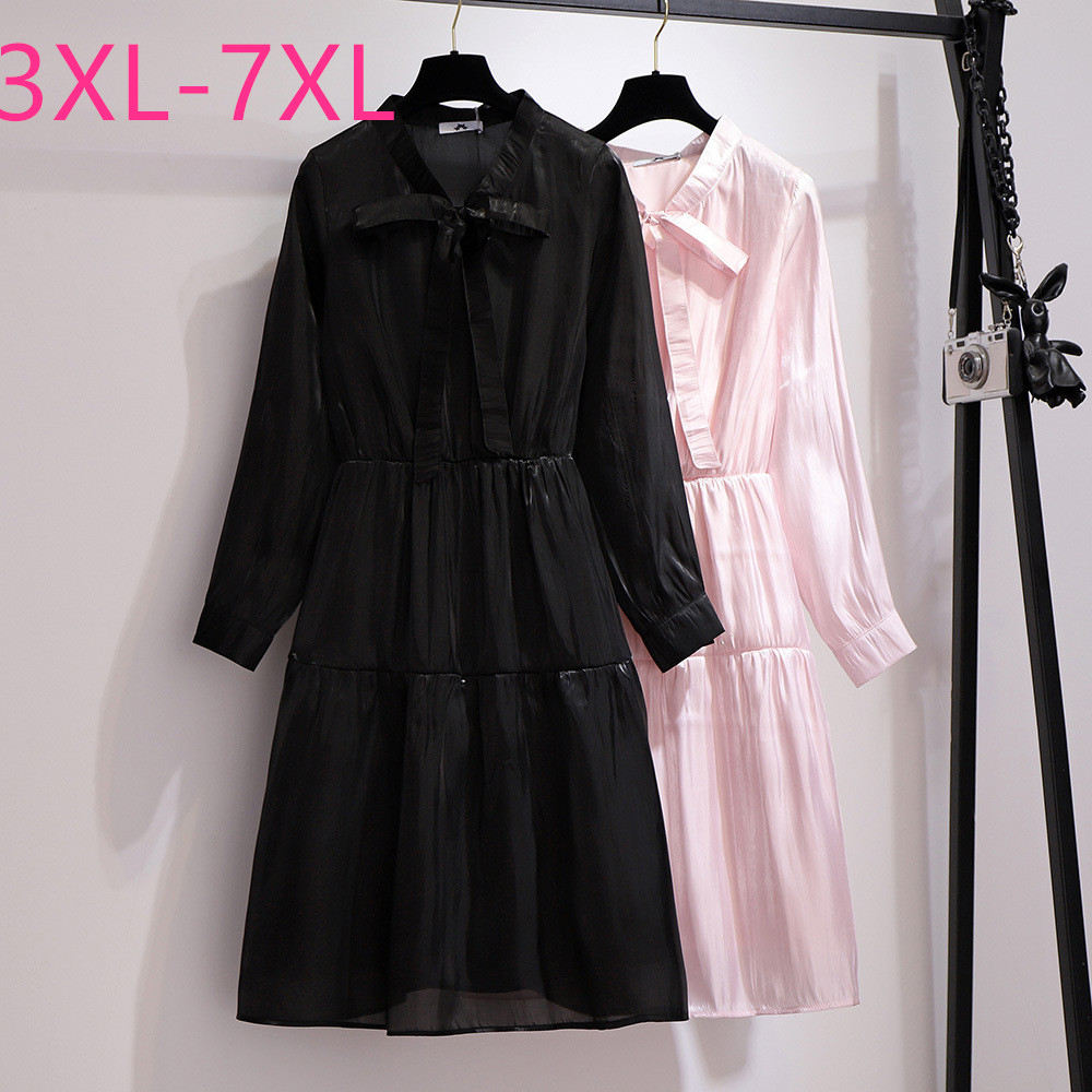 2020 Spring Autumn Plus Size Dress For Women Large Loose Casual Long Sleeve Bow V Neck Dresses Black Pink 3XL 4XL 5XL 6XL 7XL