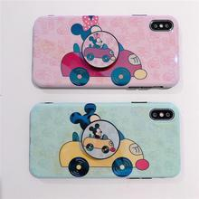 Glossy Cute Lovely Girly Cartoon Mouse Couple Phone Case For iPhone 8 7 6 6s plus X 11 Pro XS Max XR i8P Grip Holder Stand Cover