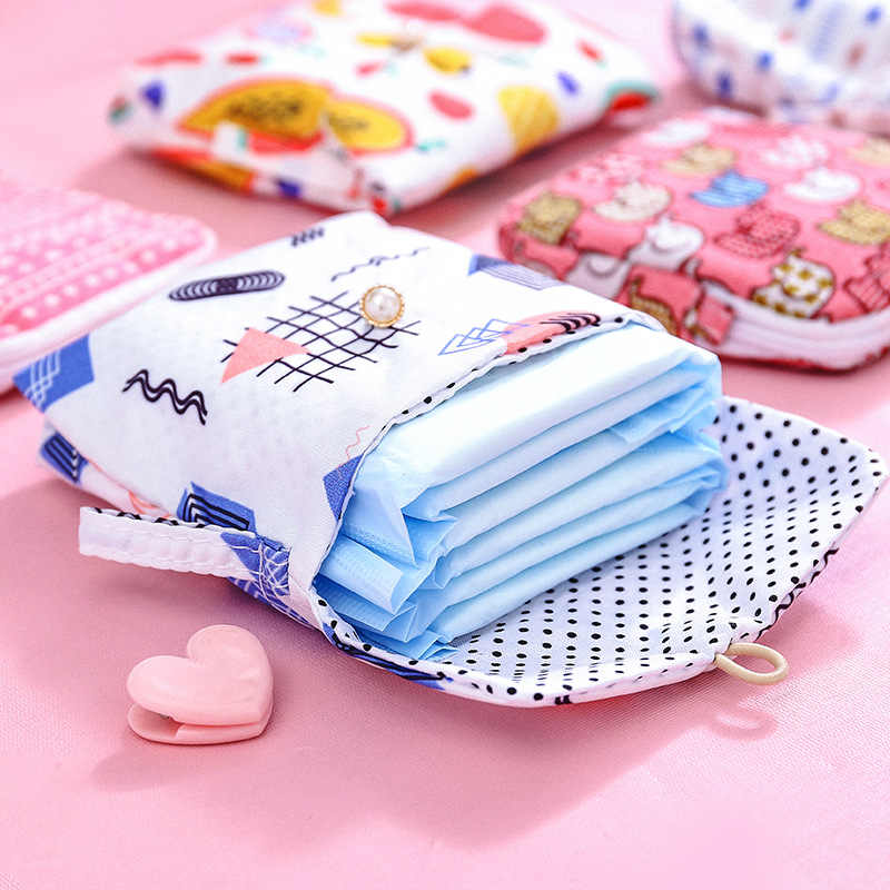 1pcs Sanitary Bag Cute Cartoon Cotton Fabric Napkin Storage Bag Large Capacity Women Sanitary Storage Bag Credit Card Organizer