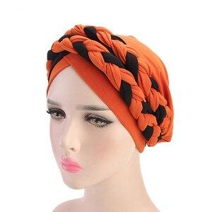 Image 3 - Helisopus 2020 แฟชั่นสไตล์ผู้หญิงมุสลิมผูกถักผมผ้าพันคอ Turban ผมหมวก Headwraps สำหรับสุภาพสตรีหมวกอุปกรณ์เสริมผม
