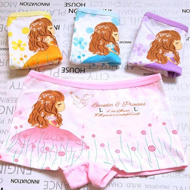 4pcs Cotton Comfortable Girls Boxer Underpants Cute And Fun Cartoon Children's Little Girls Underwear