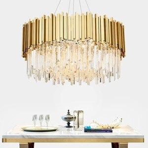 Image 2 - Oturma odası lüks altın Metal Led kolye ışıkları yuvarlak Luminarias ayarlanabilir asılı lamba Led iç mekan aydınlatması Lamparas fikstür