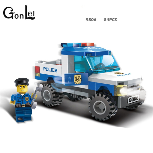 9306 Lepining Police Truck Blocks Toys For Children Model Building Kits Small Particles Assembled Truck Blocks Christmas Toys