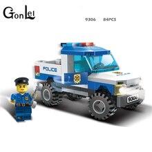 9306 lepining警察トラックブロックのおもちゃ子供モデル作成キット小粒子組み立てトラックブロッククリスマスおもちゃ