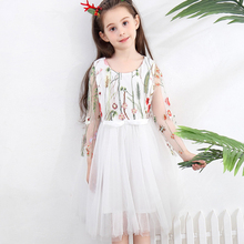 Vgiee Summer White Dress Girl 3 to 8 years Kids Long Sleeve O-neck Mesh Floral Pattern 2020 Newest Fashion Princess Dresses white fashion round neck love pattern high waisted dress