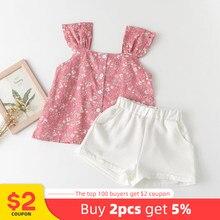 Melario roupas da menina do bebê verão roupas casuais conjunto impressão flor topos e shorts 2pcs menina crianças roupas