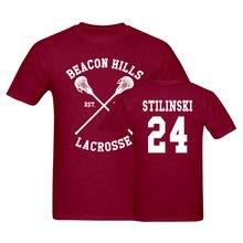 Beacon hills lacrosse t-shirts homens lobo stiles stilinski adolescente 24 topos t homem camisa marrom eua tamanho
