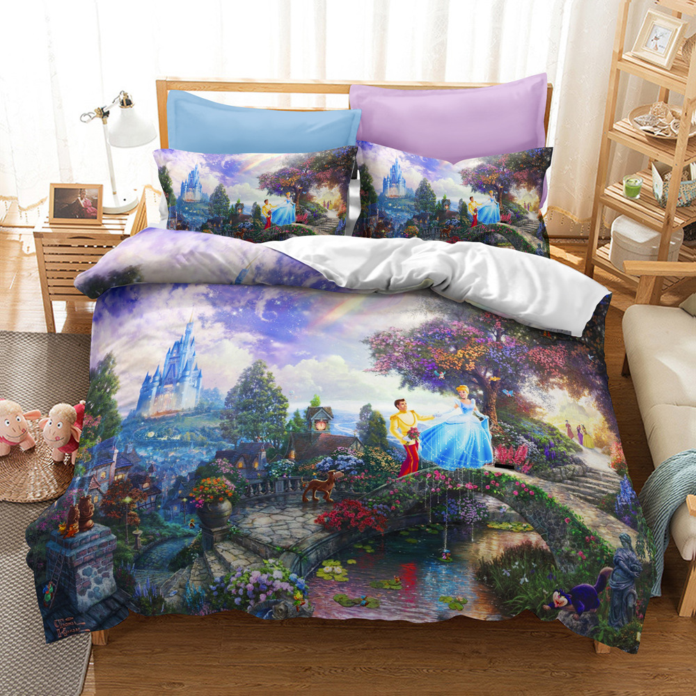 Disney Bedding Set Kids Children's Room Animated Character 3D Cartoon Printed Quilt Washable Pillow Case Household Bed Supplies