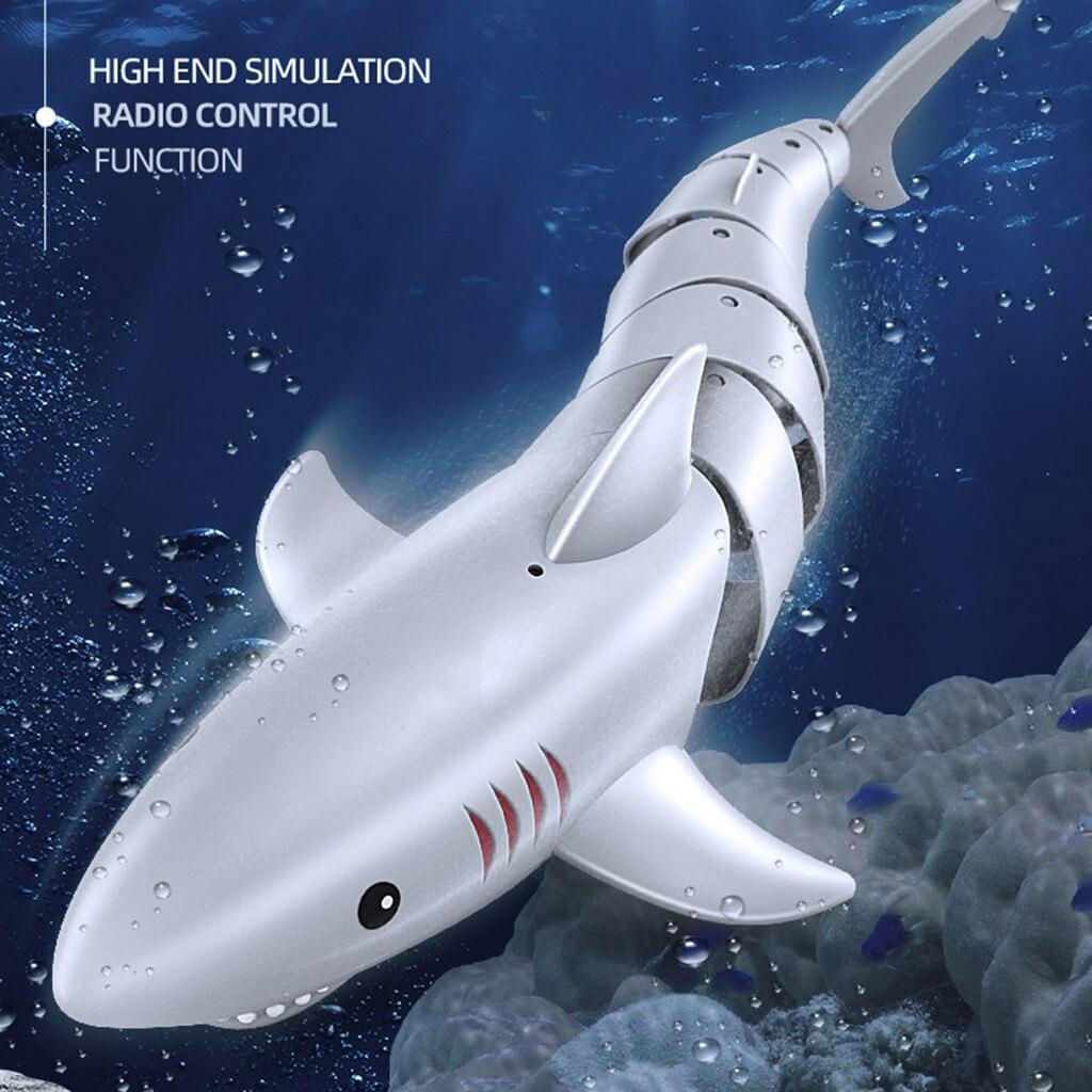 Nuevo 2,4G RC simulación tiburón juguetes Control remoto tiburón barco impermeable USB recargable piscina baño juguete tiburón