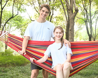 200*150cm 2 People Outdoor Canvas Camping Hammock Bend Wood Stick steady Garden Swing Hanging Chair Hang mat Blue Red
