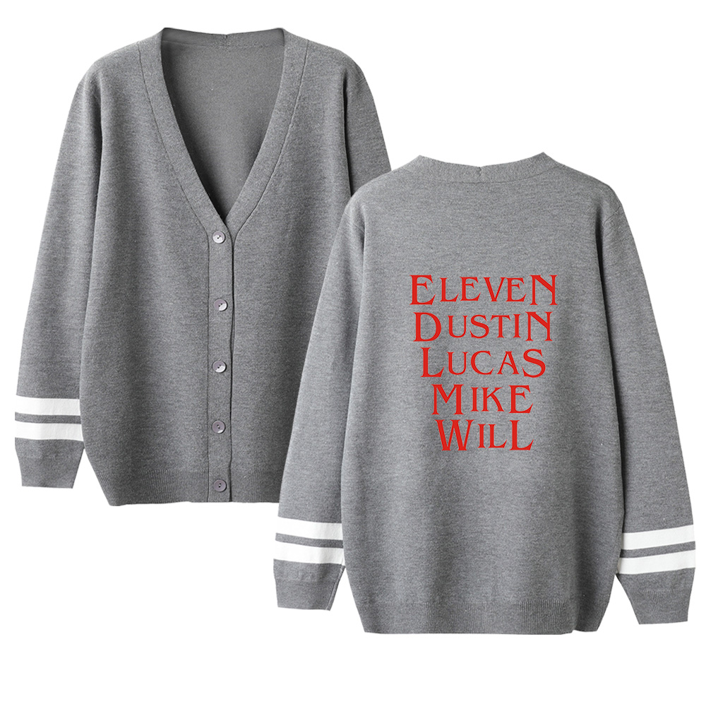 Unisex High Quality Sweater Stranger Things V-neck Cardigan Sweater Long Sleeve Knitted Warm Sweater Autumn Women Lovers Sweater