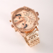 Get more info on the Super Big Dial Luxury Watches Rose Gold Quartz Watch Dual Zones Men Stainless Steel Band Wristwatch Relogio Masculino