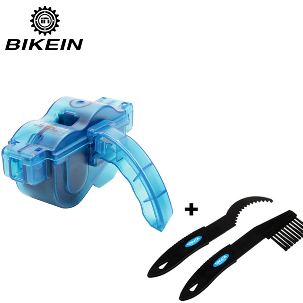 Купить с кэшбэком BIKEIN Portable Bicycle Chain Cleaner Bike Clean Machine Brushes Scrubber Wash Tool Mountain Cycling Cleaning Kit Outdoor Sports