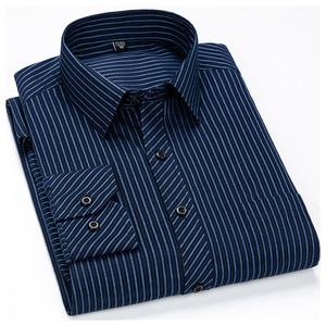 Image 5 - Mężczyźni Business Casual długi rękaw koszula klasyczne paski męskie koszula na przyjęcia towarzyskie koszule Slim Fit duży rozmiar 2XL 3XL 4XL fioletowy